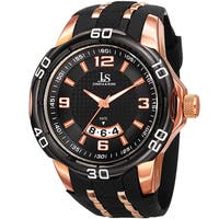 Joshua & Sons Men's Swiss Quartz Diamond Date Black Strap Watch