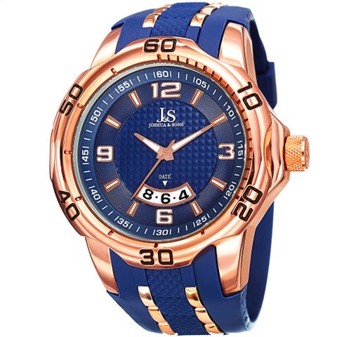 Joshua & Sons Men's Swiss Quartz Diamond Date Blue Strap Watch