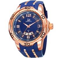 Joshua & Sons Men's Swiss Quartz Diamond Date Blue Strap Watch
