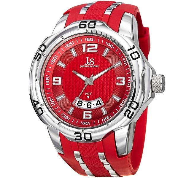 Joshua & Sons Men's Swiss Quartz Diamond Date Red Strap Watch