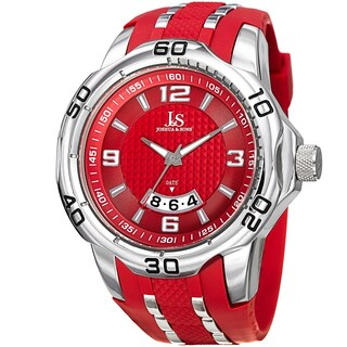Joshua & Sons Men's Swiss Quartz Diamond Date Red Strap Watch