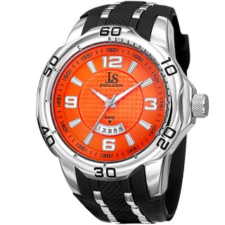 Joshua & Sons Men's Swiss Quartz Diamond Date Orange Strap Watch with FREE GIFT
