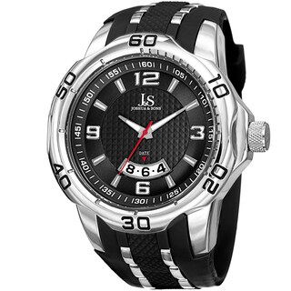 Joshua & Sons Men's Large Sports Date Silicone Strap Watch