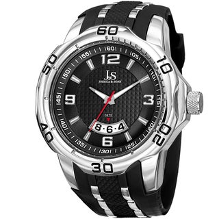 Joshua & Sons Men's Swiss Quartz Diamond Date Strap Watch with FREE GIFT