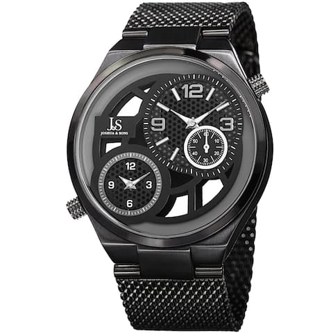 Joshua & Sons Men's Multifunction Stainless Steel Mesh Quartz Black Bracelet Watch