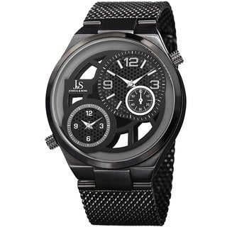 Joshua & Sons Men's Multifunction Stainless Steel Mesh Quartz Black Bracelet Watch