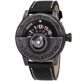 Joshua & Sons Men's Quartz Rotating Wheel Leather Black Strap Watch