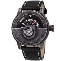 Joshua & Sons Men's Quartz Rotating Wheel Leather Black Strap Watch