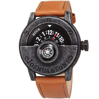 Joshua & Sons Men's Quartz Rotating Wheel Leather Black Strap Watch with FREE GIFT https://ak1.ostkcdn.com/images/products/10755274/P17808972.jpg?impolicy=medium