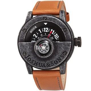 Joshua & Sons Men's Quartz Rotating Wheel Leather Black Strap Watch with FREE GIFT
