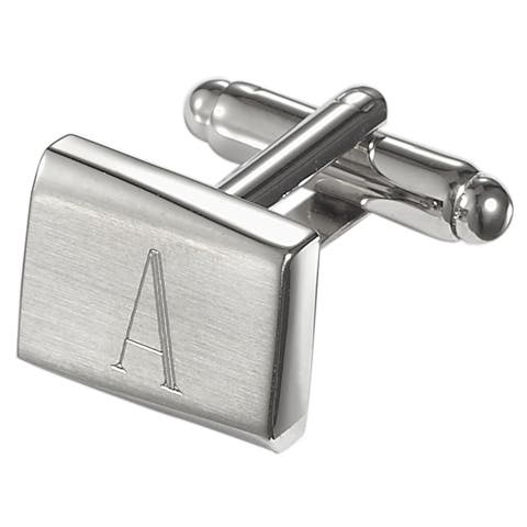 Visol Saturn Personalized Stainless Steel Cufflinks with Engraved Initial