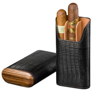 Brizard & Co Lizard Black Leather and Zebrawood 3 Finger Cigar Case