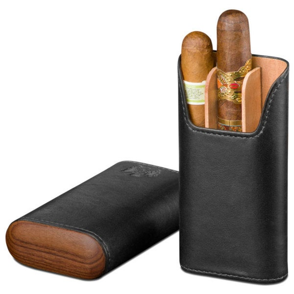 Brizard & Co Sunrise Black Leather and Rosewood 3 Finger Cigar Case