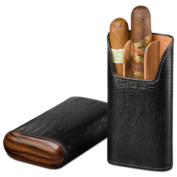 Brizard & Co Lizard Black Leather and Ebony 3 Finger Cigar Case