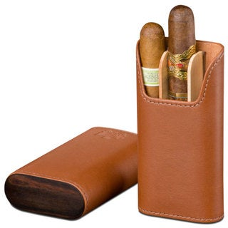 Brizard & Co Tan Leather 3 Finger Cigar Case