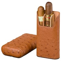 Brizard & Co Ostrich Tan Leather 3 Finger Cigar Case