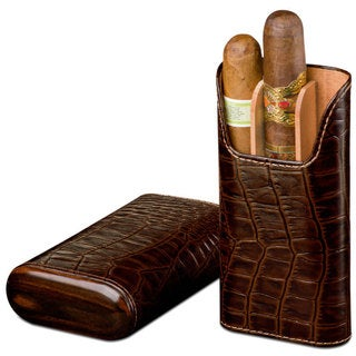 Brizard & Co Croco Tobacco Leather 3 Finger Cigar Case