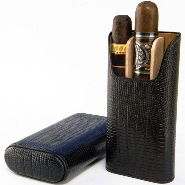Brizard & Co All Leather Lizard Black 3 Finger Cigar Case