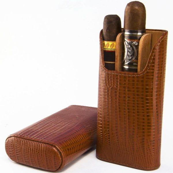 Brizard & Co All Leather Lizard Havana 3 Finger Cigar Case