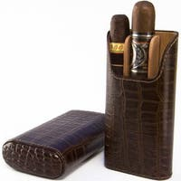 Brizard Cigar Case All Leather Croco Tobacco