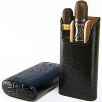 Brizard & Co All Leather Croco Black 3 Finger Cigar Case