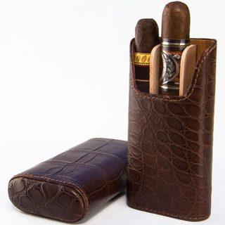 Brizard & Co Genuine Alligator Tobacco Leather 3 Finger Cigar Case