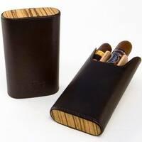 Brizard & Co Sunrise Black Leather and Zebrawood Flat Top Cigar Case