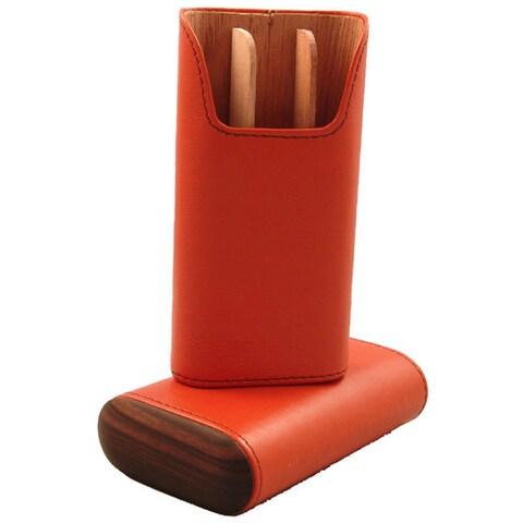 Brizard & Co Orange Leather Cigar Case