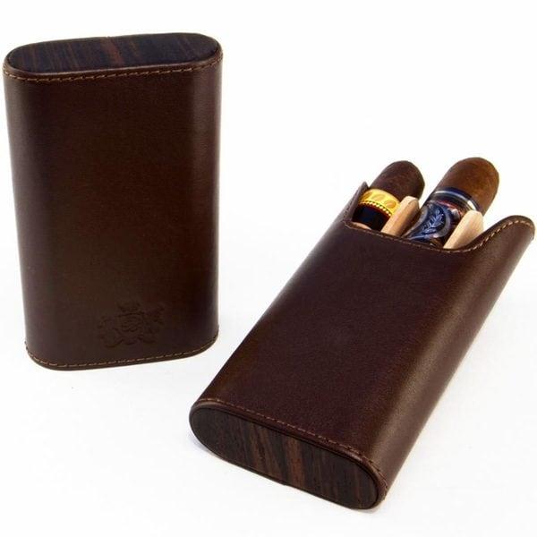 Brizard Flat Top Cigar Case Sunrise Coffee Leather and Ebony
