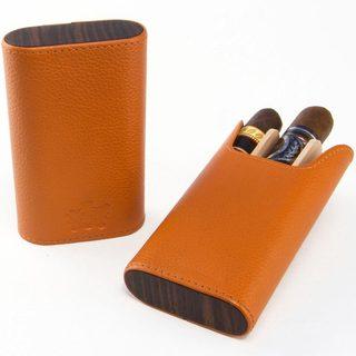 Brizard & Co Sunrise Orange Leather and Ebony Flat Top Cigar Case