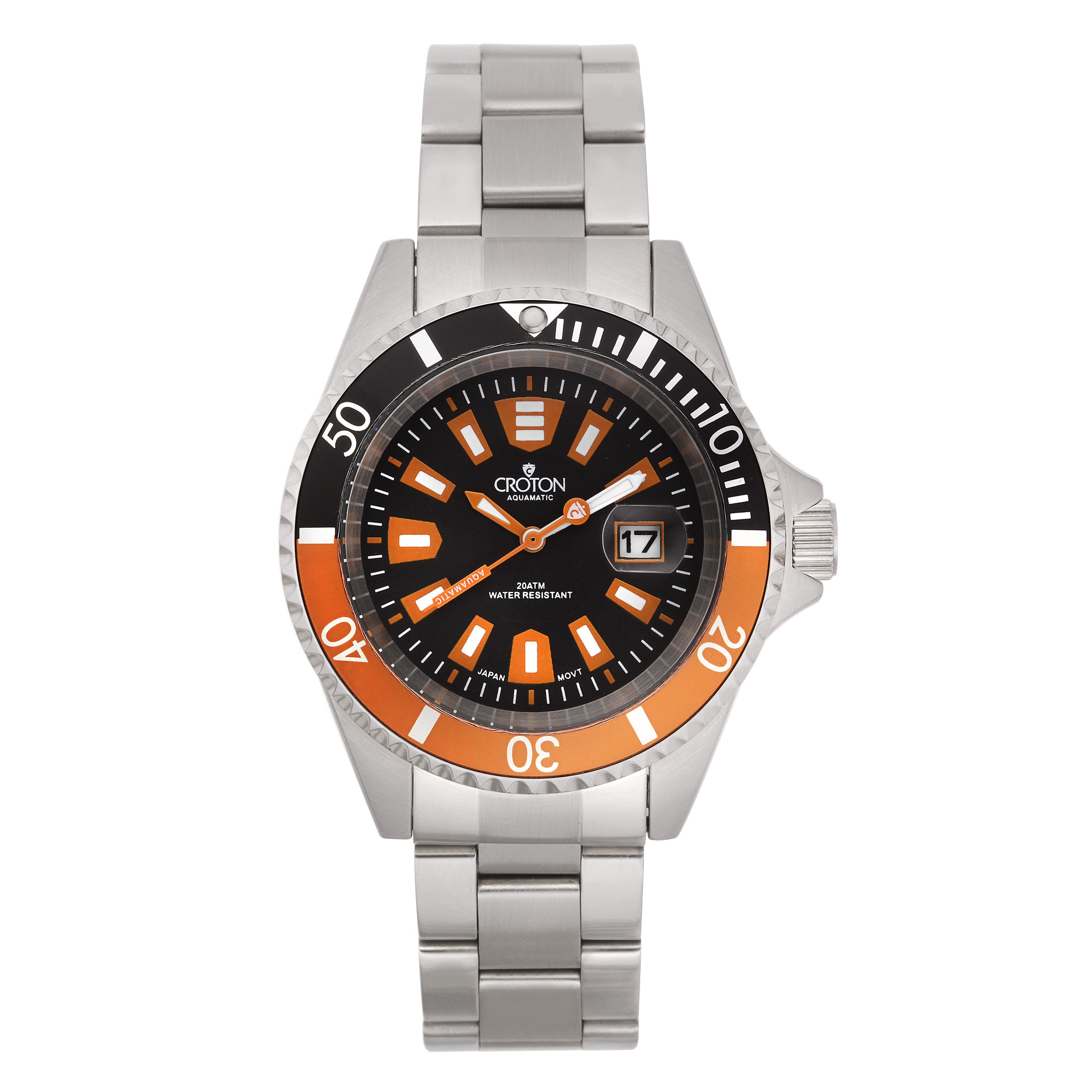 Croton Men's CA301282BKOR Stainless Steel Black Magnified...