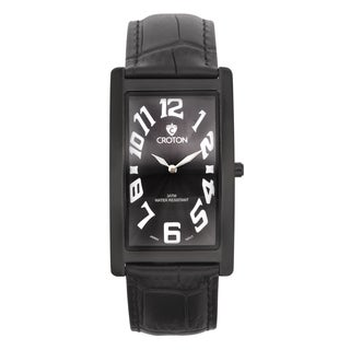 Croton Men's CN307533BKBK Stainless Steel Black Rectangular Watch