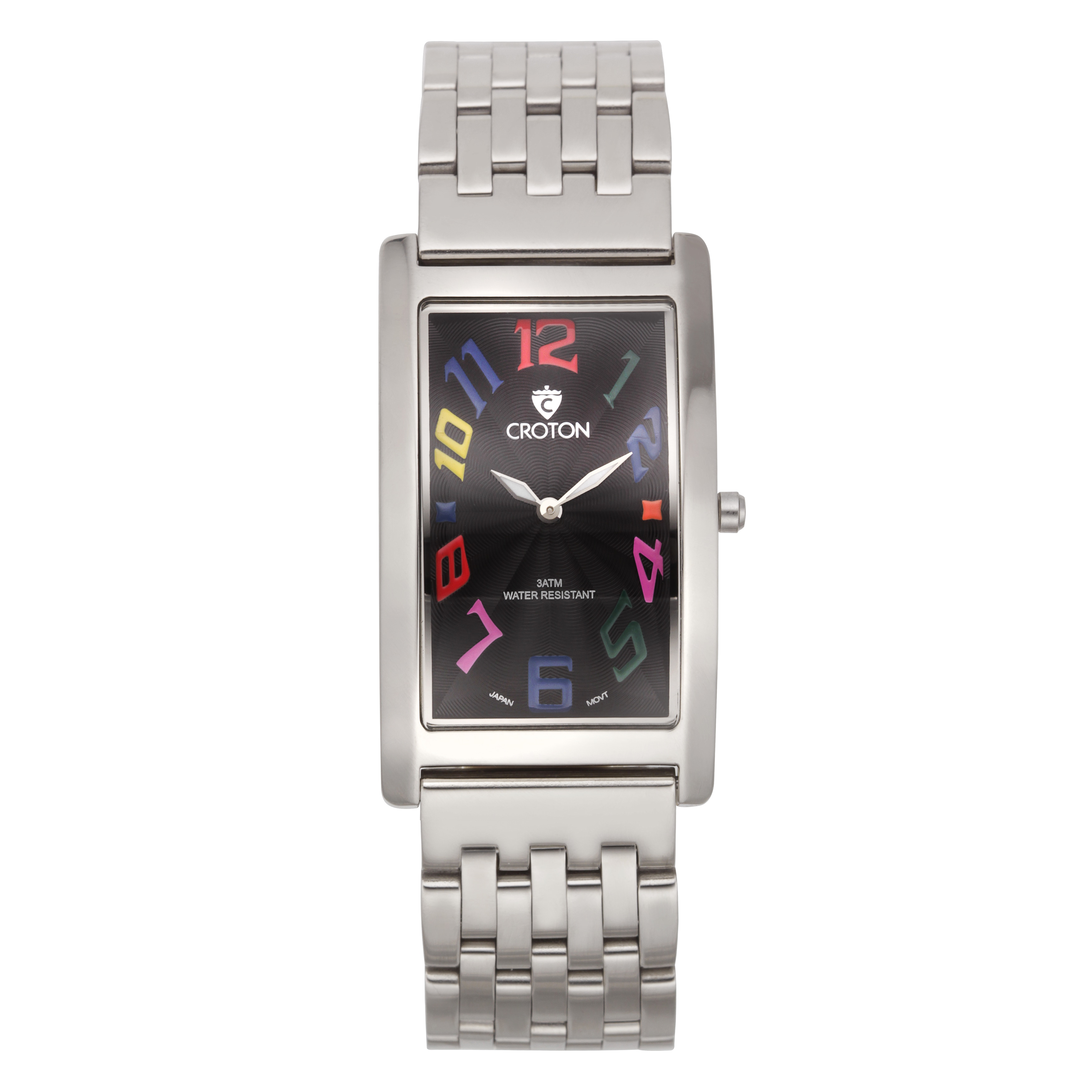 Croton Men's CN307533SSBK Stainless Steel Silvertone Rect...