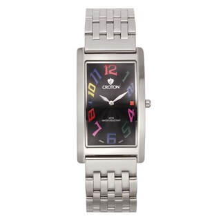 Croton Men's Stainless Steel Silvertone Rectangular Watch - Silver