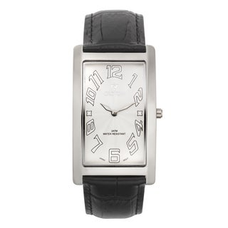 Croton Men's CN307533BSWH Stainless Steel White White Rectangular Watch - Silver