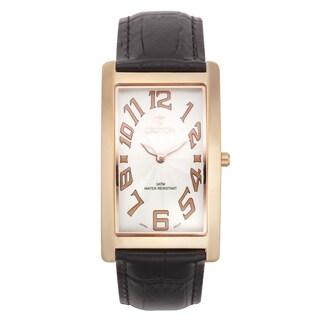 Croton Men's CN307533RGWH Stainless Steel Rosetone Rectangular Watch
