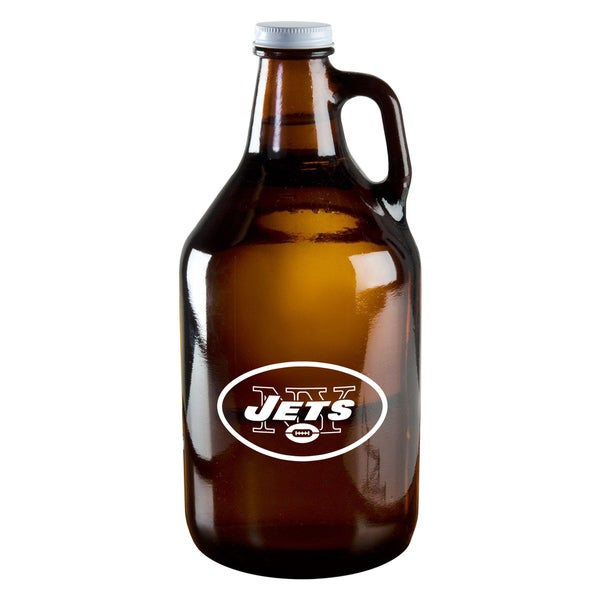 New York Jets 64-Ounce Amber Glass Growler