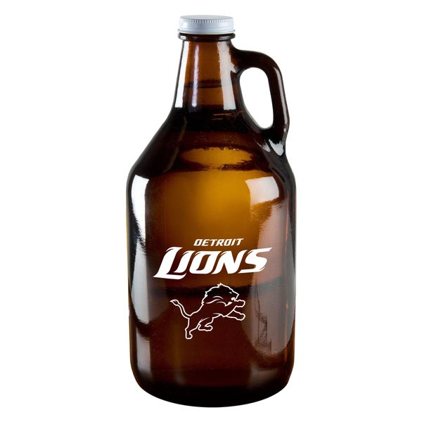 Detroit Lions 64-Ounce Amber Glass Growler