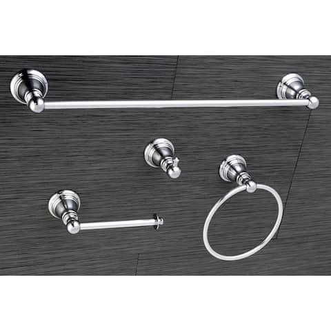 Classic Polished Chrome 4-piece Bathroom Accessory Set - Silver