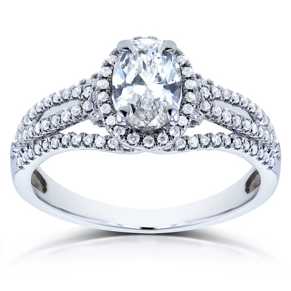 Annello by Kobelli 14k White Gold Certified Oval 1ct TDW Diamond Ring (H, VS2)