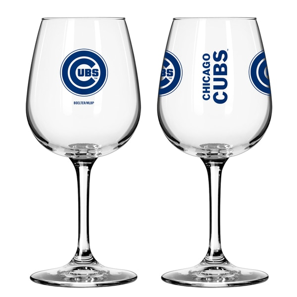 Chicago Cubs 12-ounce Wine Glass Set