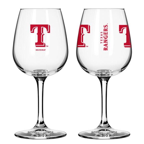 Texas Rangers 12-ounce Wine Glass Set