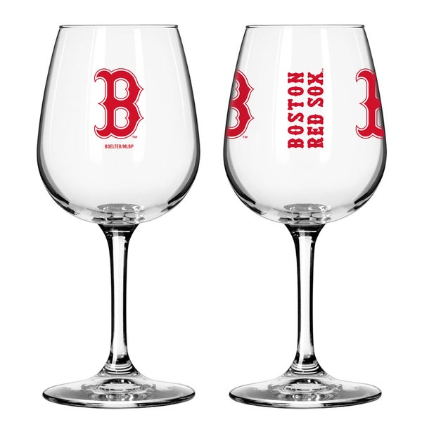 Boston Red Sox 12-ounce Wine Glass Set