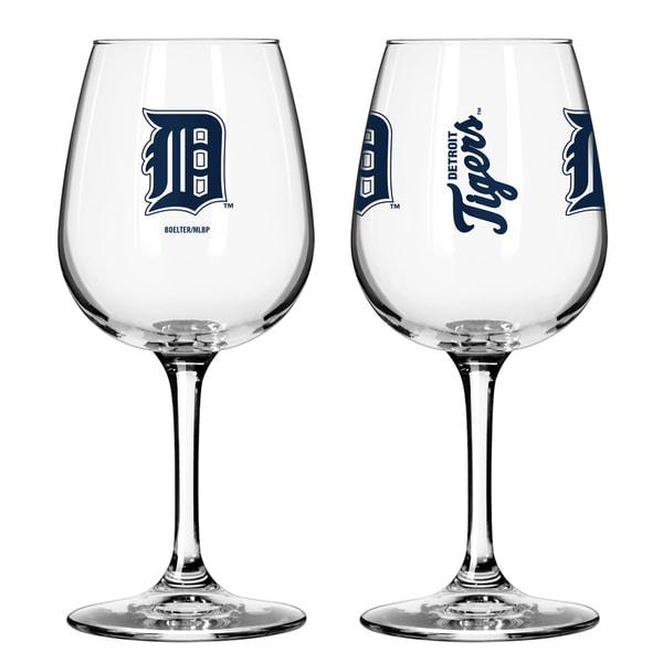 Detroit Tigers 12-ounce Wine Glass Set
