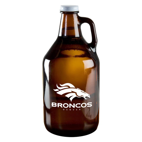 Denver Broncos 64-Ounce Amber Glass Growler