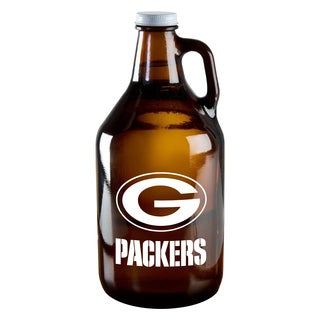 Green Bay Packers 64-Ounce Amber Glass Growler
