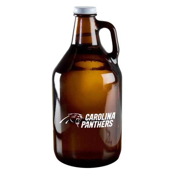 Carolina Panthers 64-Ounce Amber Glass Growler