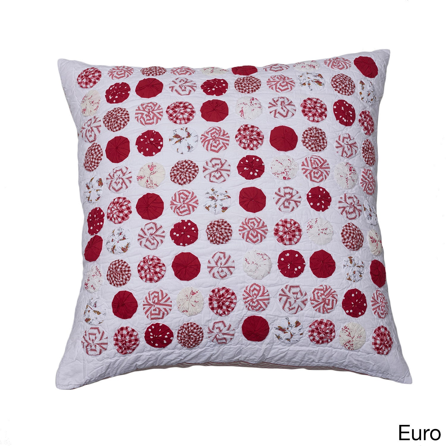 Cottage Home Yo Yo Sham (Euro Sham), Red (Cotton)