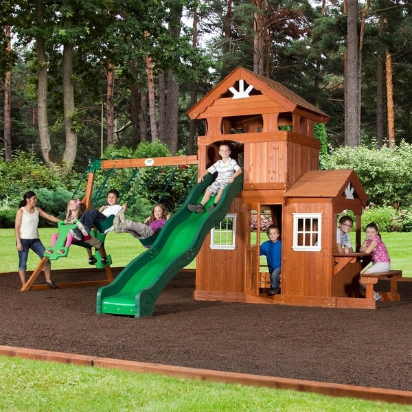 Backyard Playset Reviews shop backyard discovery shenandoah all cedar swing set play set