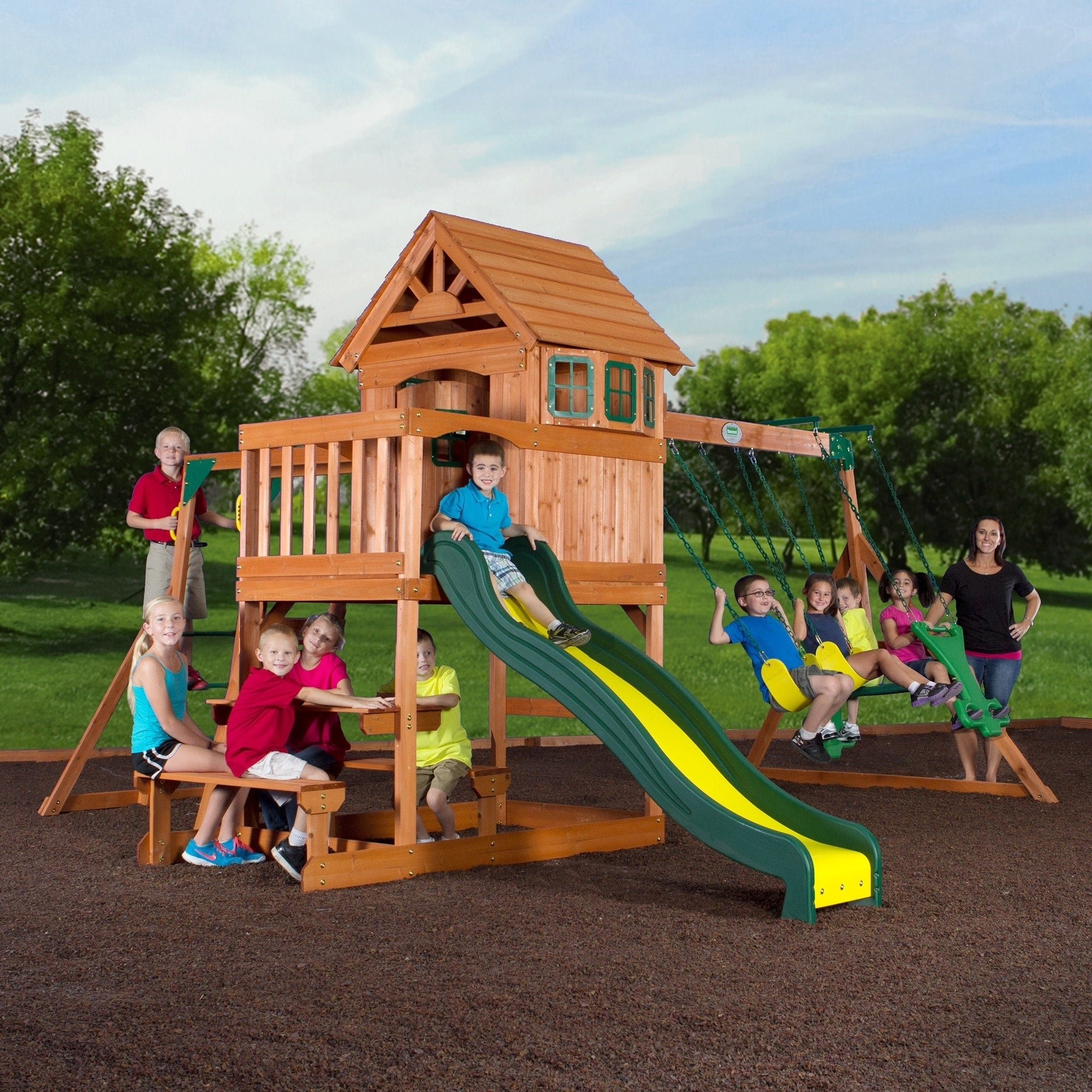 Backyard Discovery Springboro All Cedar Swingset 111 In H X 192 In X W 186 In L